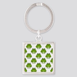 Cute Happy Frog Pattern Square Keychain